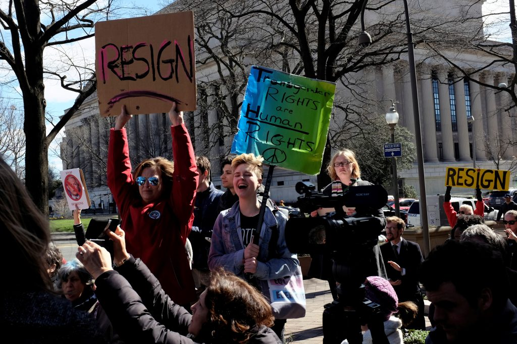 Demonstrators organized by MoveOn.org hold a protest rally outside the Department of Justice demanding the resignation of Attorney General Jeff Sessions in Washington