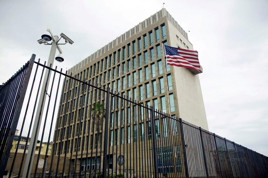 FILE PHOTO: An exterior view of the U.S. Embassy is seen in Havana, Cuba, June 19, 2017. REUTERS/Alexandre Meneghini/File Photo - RC18EA4199E0