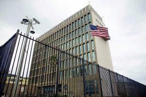 FILE PHOTO: An exterior view of the U.S. Embassy is seen in Havana, Cuba, June 19, 2017. REUTERS/Alexandre Meneghini/File Photo - RC18EA4199E0