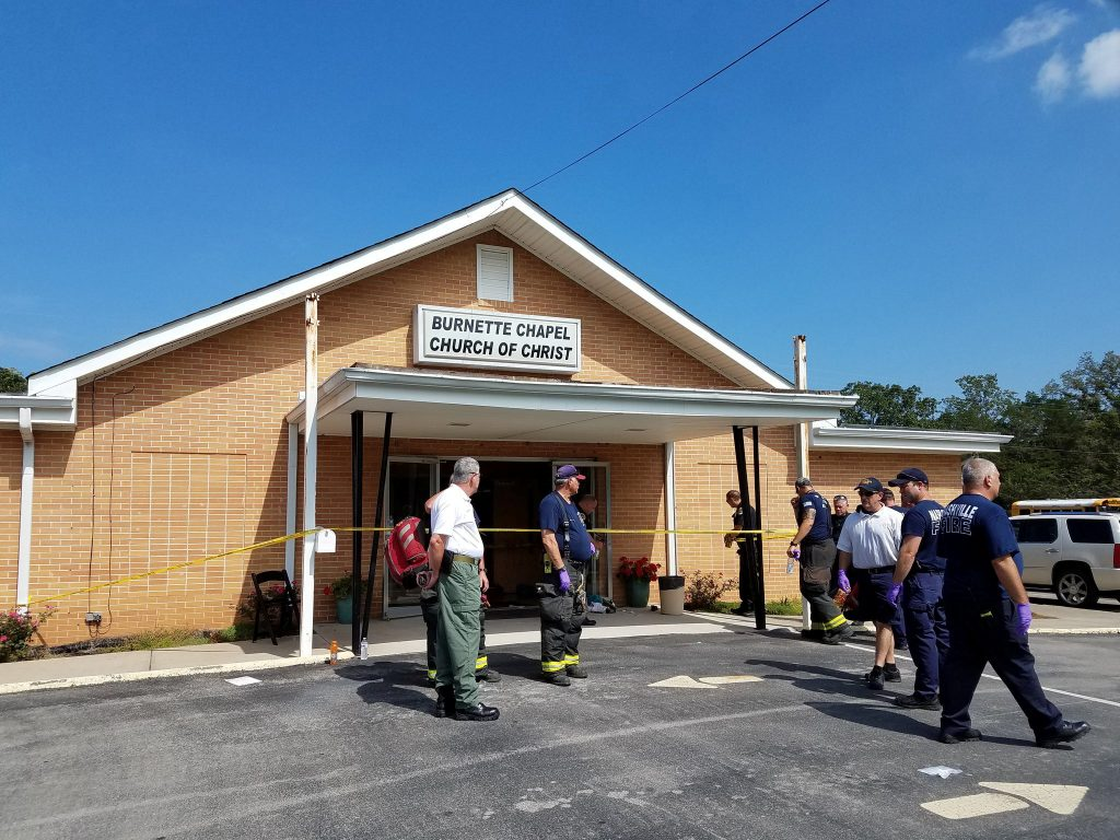The scene where people were injured when gunfire erupted at the Burnette Chapel Church of Christ, in Nashville, Tennessee, U.S., September 24, 2017. Metro Nashville Police Department/Handout via REUTERS ATTENTION EDITORS - THIS IMAGE WAS PROVIDED BY A THIRD PARTY - RC131F8B8C00