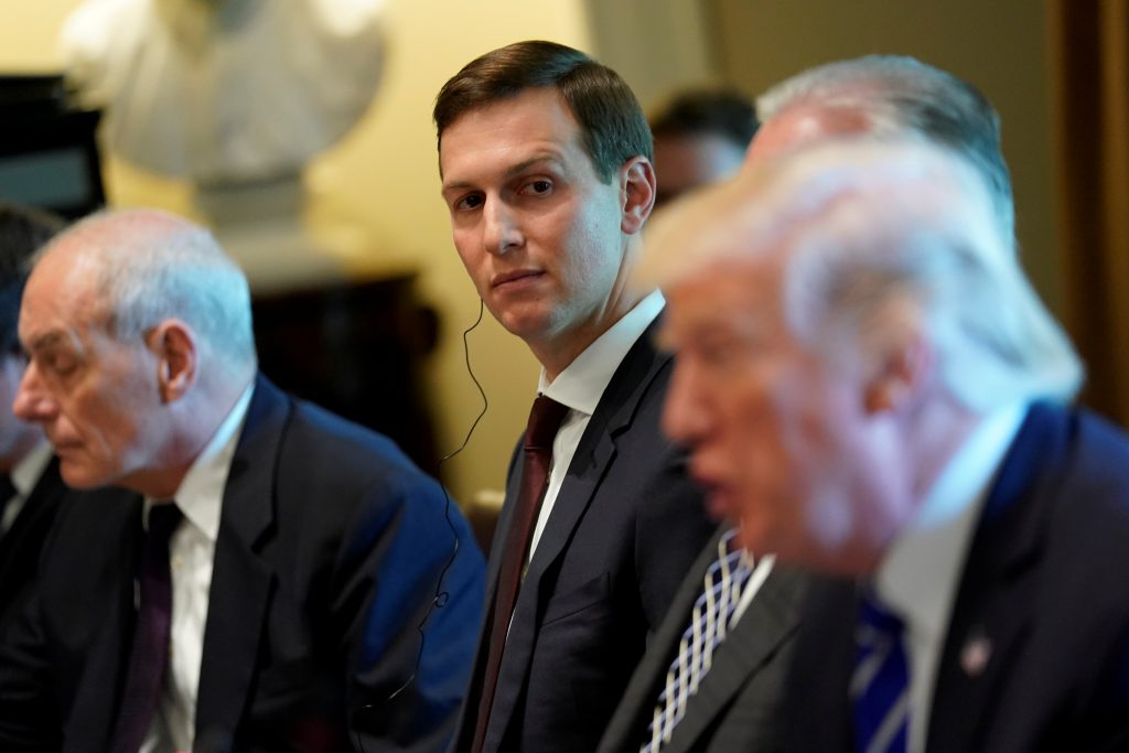 White House senior advisor Jared Kushner (C) looks on as U.S. President Donald Trump (R) delivers remarks before meeting with Spain's Prime Minister Mariano Rajoy and his delegation at the White House in Washington, U.S. September 26, 2017.  REUTERS/Jonathan Ernst