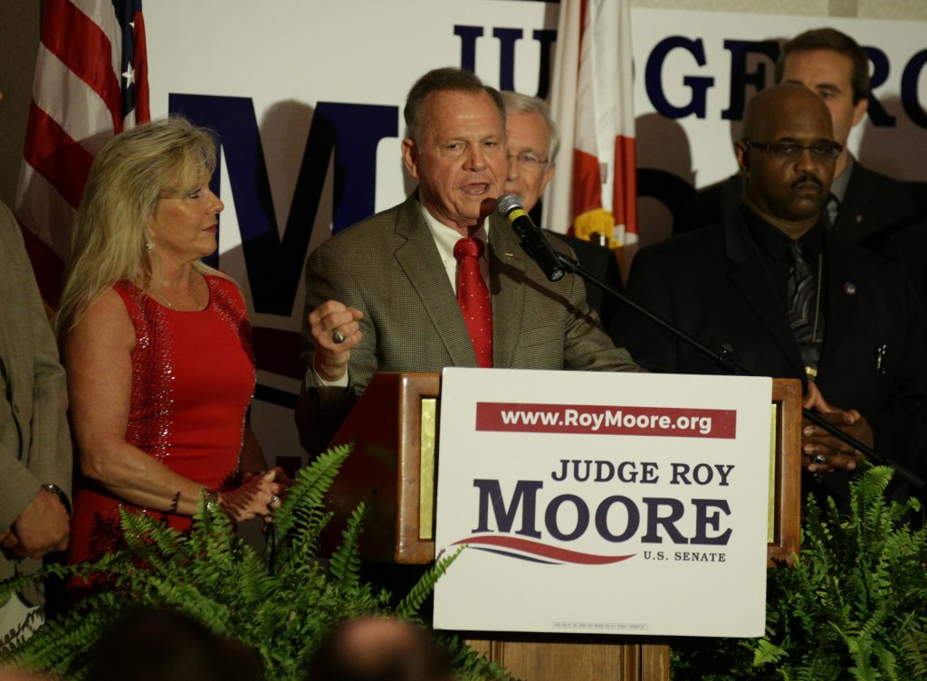 Republican candidate Roy Moore makes his victory speech after defeating incumbent Luther Strange to his supporters at the RSA Activity center in Montgomery, Alabama, U.S. September 26, 2017, during the runoff election for the Republican nomination for Alabama's U.S. Senate seat vacated by Attorney General Jeff Sessions.  REUTERS/Marvin Gentry