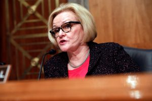 Ranking Member Sen. Claire McCaskill (D-MO) speaks prior to Homeland Security Secretary John Kelly testifying before a Senate Homeland Security and Governmental Affairs hearing on border security on Capitol Hill in Washington, D.C., U.S., April 5, 2017. REUTERS/Aaron P. Bernstein - RC1ED5BECBF0