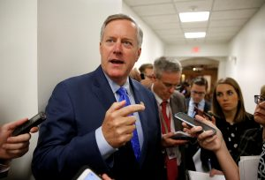 Rep. Mark Meadows (R-NC), House Freedom Caucus Chairman, speaks to reporters on Capitol Hill in Washington, U.S., May 23, 2017. Photo by Joshua Roberts/Reuters