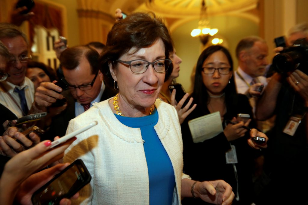 Senator Susan Collins (R-Maine) talks to reporters as she arrives for a Senate health care vote on Capitol Hill in Washington, D.C. in July. Photo by Yuri Gripas/Reuters