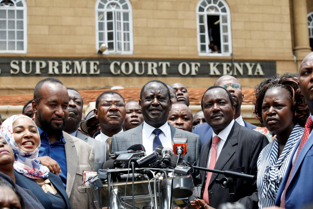 Opposition leader Raila Odinga speaks at a news conference outside the court after President Uhuru Kenyatta's election win was declared invalid in Nairobi, Kenya, September 1, 2017. REUTERS/Baz Ratner