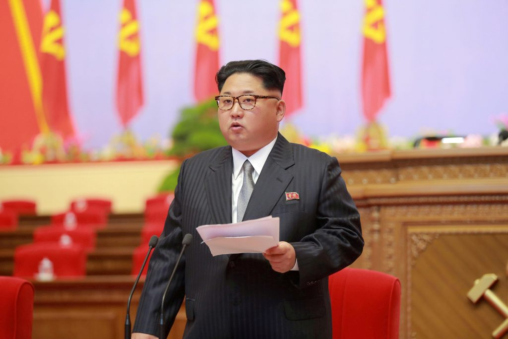 FILE PHOTO: North Korean leader Kim Jong-Un speaks during the first congress of the country's ruling Workers' Party in 36 years in Pyongyang