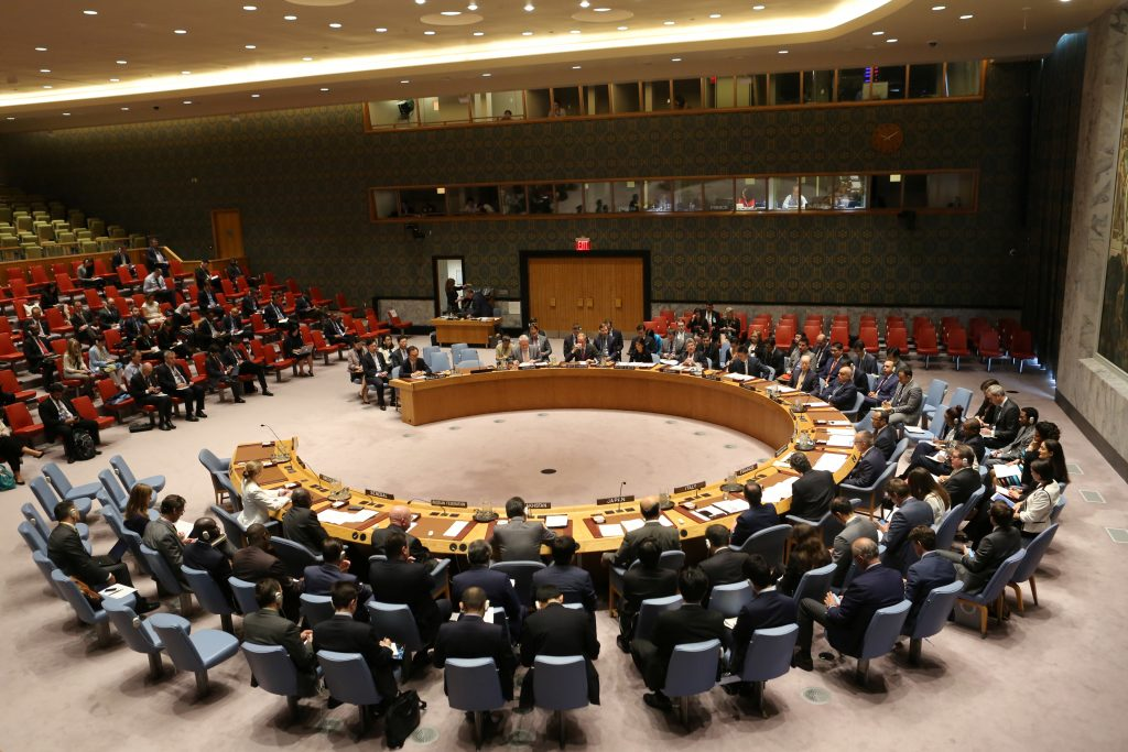 The United Nations Security Council sits to meet on North Korea after their latest missile test, at the U.N. headquarters in New York City, U.S., September 4, 2017. REUTERS/Joe Penney - RC13EB881600