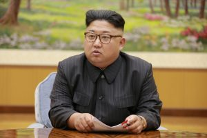 North Korean leader Kim Jong Un participates in a meeting with the Presidium of the Political Bureau of the Central Committee of the WorkersÕ Party of Korea
