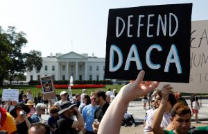 Demonstrators protest in front of the White House after the Trump administration today scrapped the Deferred Action for Childhood Arrivals (DACA), a program that protects from deportation almost 800,000 young men and women who were brought into the U.S. illegally as children, in Washington, D.C. Photo by Kevin Lamarque/Reuters