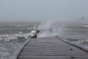Waves break over a dock in Fajardo as Hurricane Irma slammed across islands in the northern Caribbean