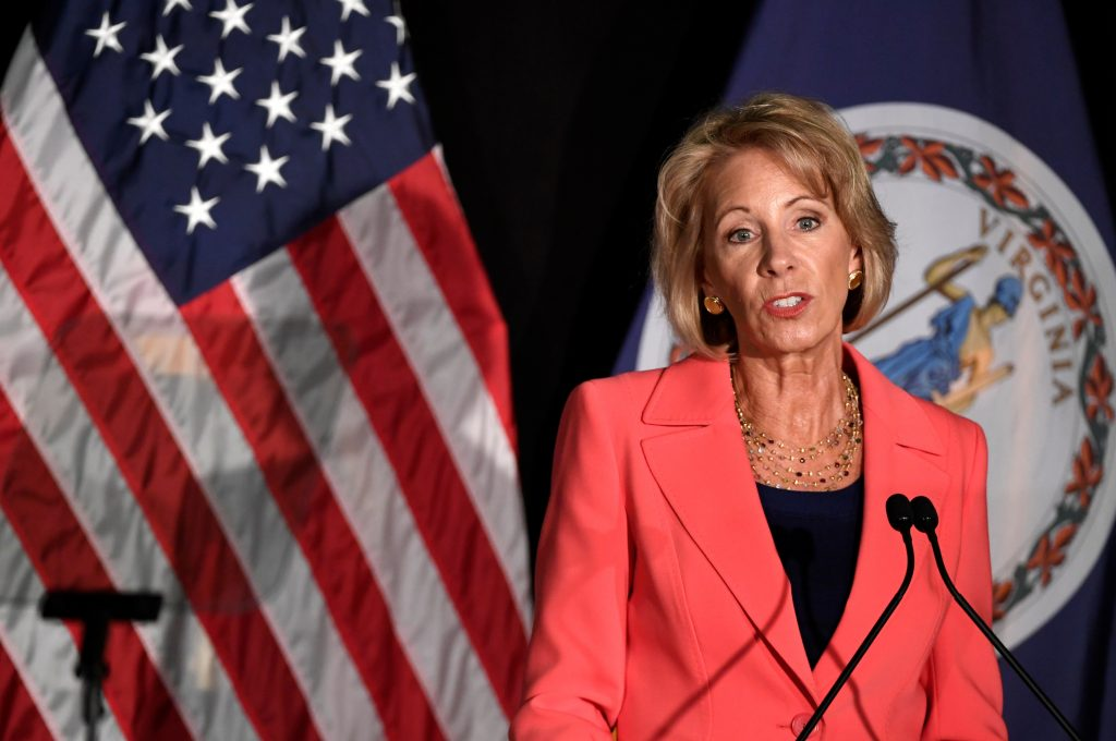 Education Secretary Betsy DeVos makes remarks during a major policy address on Title IX enforcement, which in college covers sexual harassment, rape and assault, at George Mason University, in Arlington, Virginia. Photo by Mike Theiler/Reuters