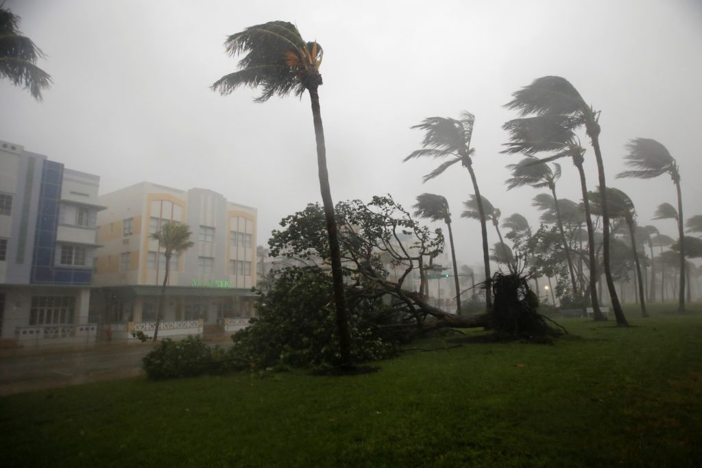 Heavy wind is seen along Ocean Drive in South Beach as Hurricane Irma arrives at south Florida, in Miami Beach