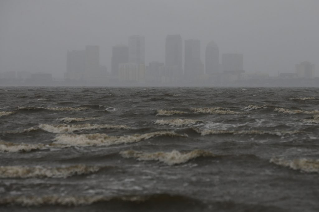 The Tampa skyline is pictured across Hillsborough Bay ahead of the arrival of Hurricane Irma in Tampa