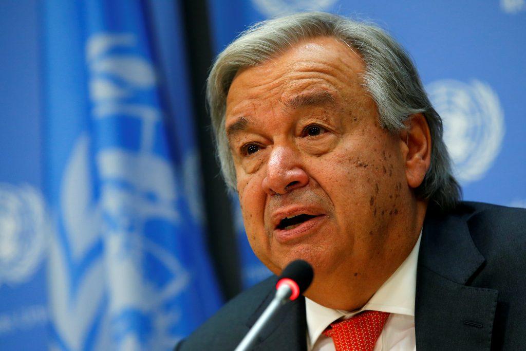 U.N. Secretary-General Antonio Guterres speaks at a news conference ahead of the 72nd U.N. General Assembly at U.N. headqu...