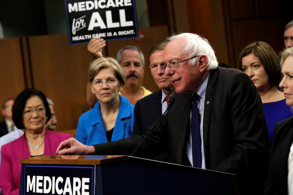 """Senator Bernie Sanders (I-VT) speaks during an event to introduce the """"Medicare for All Act of 2017"""" on Capitol Hill in Washington, U.S., September 13, 2017. REUTERS/Yuri Gripas"""