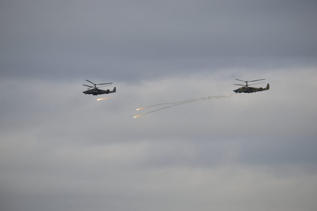 Helicopters take part in Zapad-2017 war games, held by Russia and Belarus, at an undisclosed location in Belarus on Sept. 14. Photo by Vayar military information agency/Belarussian Defense Ministry/Handout via Reuters