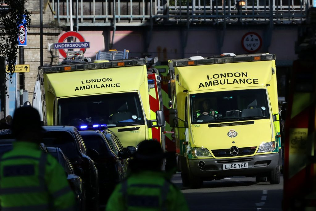 Police, fire and ambulance crew attend to an incident at Parsons Green underground station in London, Britain. Photo by Luke MacGregor/Reuters