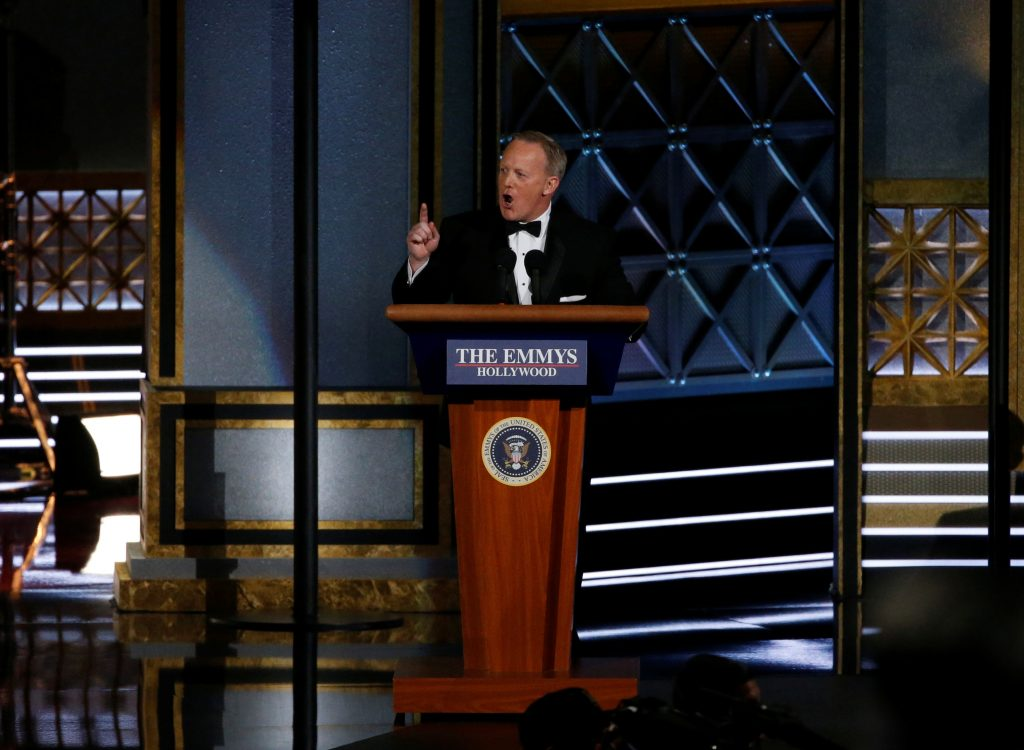 Former Press Secretary Sean Spicer made a surprising cameo at last night's 69th Primetime Emmy Awards. REUTERS/Mario Anzuoni