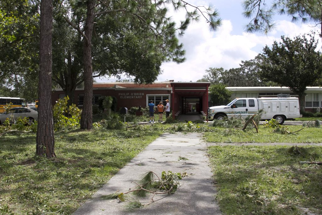 A school-turned-hurricane shelter in Polk County, Florida, which was hit by Hurricane Irma. Sex offenders were not allowed inside and were offered the county jail as an alternative shelter.
