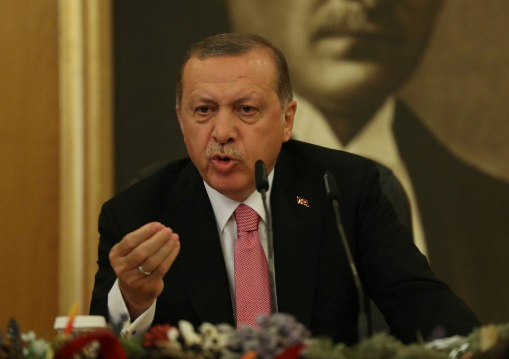 Turkish President Tayyip Erdogan speaks during a news conference at Ataturk International Airport in Istanbul, Turkey September 8, 2017. REUTERS/Osman Orsal - RC12B0E26990