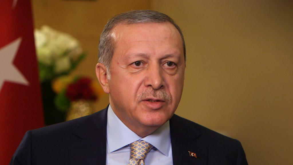 Screen image of Turkish President Recep Tayyip Erdogan
