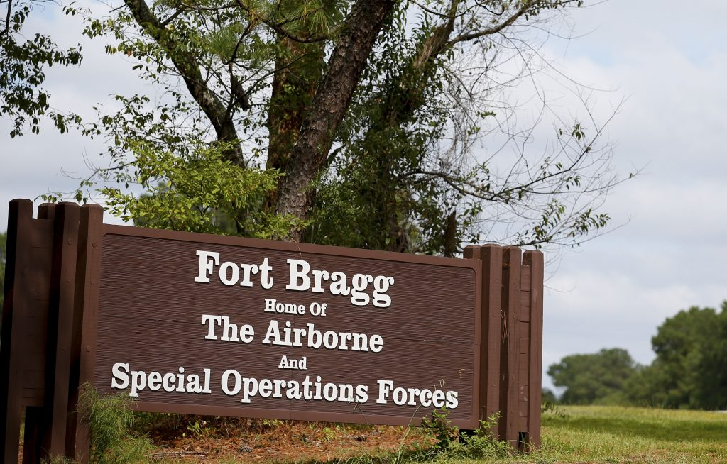 A sign of Fort Bragg is seen in Fayetteville, North Carolina September 26, 2014. It's not uncommon in Fayetteville to hear...