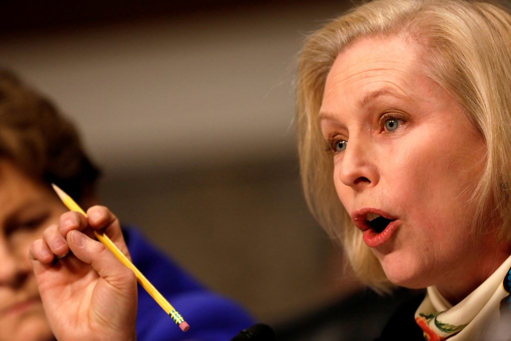 Senator Kristen Gillibrand (D-NY) asks a question during a Senate Armed Services Committee hearing on the Marines United Facebook page on Capitol Hill in Washington, D.C., U.S. March 14, 2017. REUTERS/Aaron P. Bernstein - RC1450B0DE00
