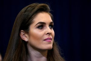 Republican presidential nominee Donald Trump's press secretary Hope Hicks is pictured during a campaign event in Phoenix, Arizona. Photo by Carlo Allegri/Reuters