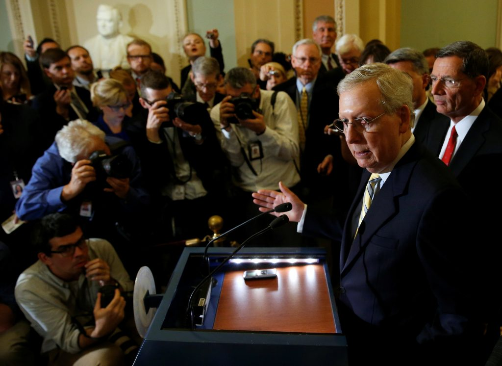 Senate Majority Leader Mitch McConnell (R-KY) speaks after a Republican policy meeting on Capitol Hill in Washington, U.S., September 6, 2017. REUTERS/Joshua Roberts - RC127DD18160