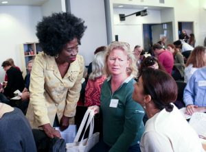Elizabeth White, talking to long-term unemployed older workers at Jewish Vocational Services in San Francisco in July, 2017. Photo courtesy of Jewish Vocational Services