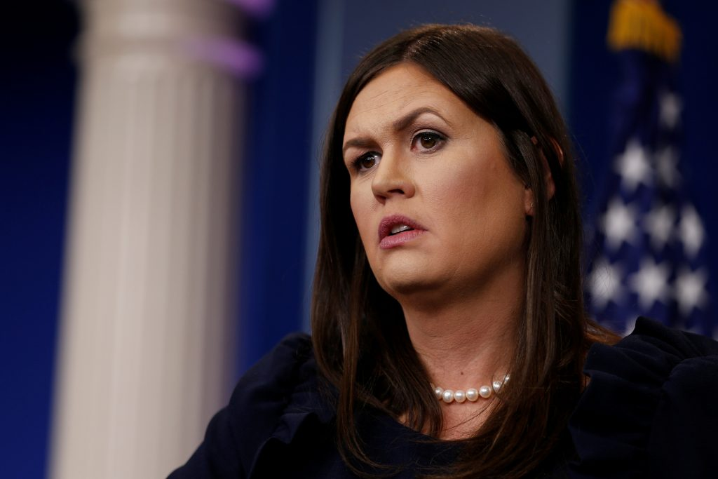White House Press Secretary Sarah Huckabee Sanders holds the daily briefing at the White House in Washington, U.S., September 8, 2017. REUTERS/Jonathan Ernst - RC1AE5483D80