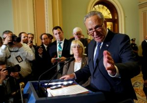 Senate Minority Leader Chuck Schumer (D-NY) speaks after a Democratic policy meeting on Capitol Hill in Washington, U.S., September 6, 2017. REUTERS/Joshua Roberts - RC1B942D1930