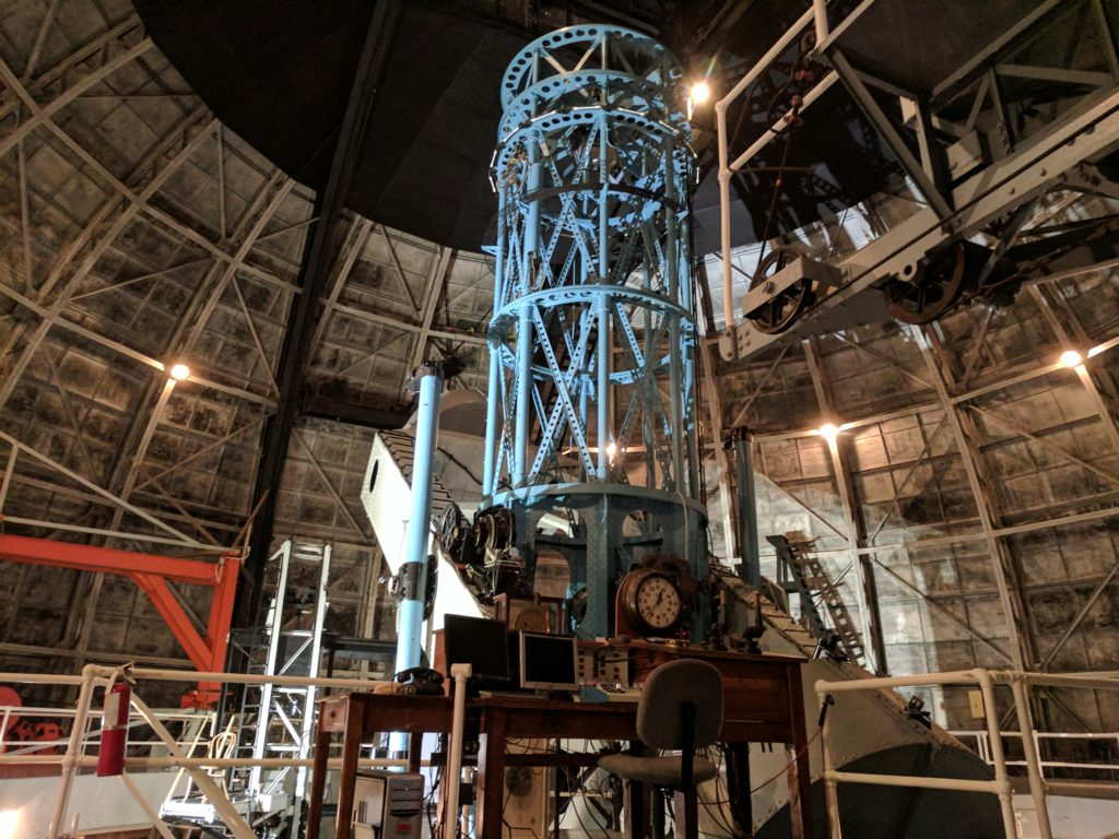 The 100-inch telescope and its moving parts weigh about one million pounds. Photo by Dan Kohne