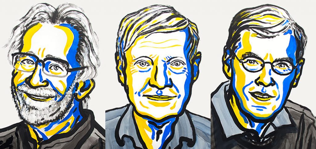 Jacques Dubochet, Joachim Frank and Richard Henderson have won the 2017 Nobel Prize in chemistry for developing a way to image our cells and biomolecules at cold temperatures. Illustration by Nobel Media. Ill. N. Elmehed
