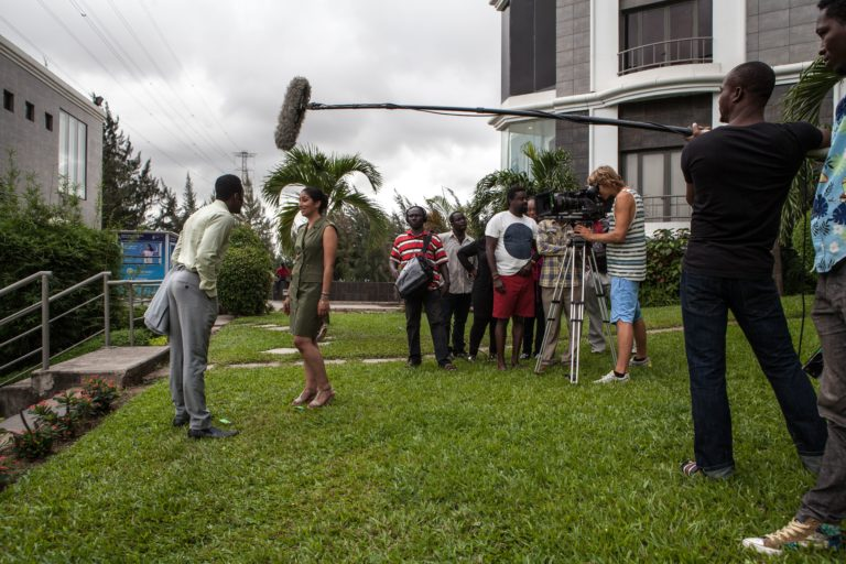 "Nigerian actor Wole Ojo and Moroccan actress Fatym Layachi play during the shooting of the movie ""The CEO"" on September 14, 2015 in Lagos. With a budget of more than USD 1 million (880,000 euros) and with a pan African casting, ""The CEO"" is a far cry from the shoestring productions that characterize the bulk of Nollywood's output. (FLORIAN PLAUCHEUR/AFP/Getty Images)"