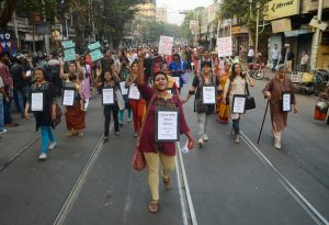 Indian women activists are participating in a protest rally against sexual violence on women , in Kolkata , India on Monday , 7th December , 2015. (Photo by Sonali Pal Chaudhury/NurPhoto) (Photo by NurPhoto/NurPhoto via Getty Images)