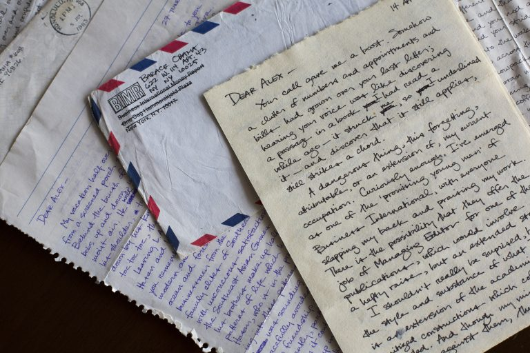 Copies of letters Barack Obama sent to his college girlfriend Alexandra McNear in the early 1980s. Photo courtesy of Emory University