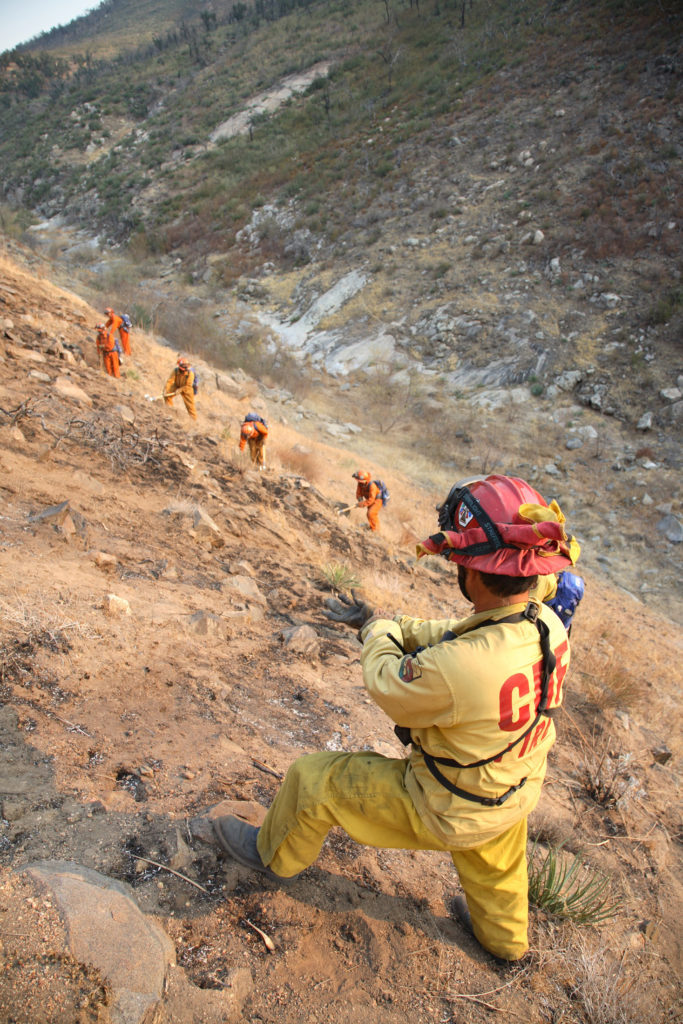 Tom Klimas, a fireman who has managed prison crews for the past seven years, watches over a team of female prisoners in a remote mountainous area of the Witch Fire past Santa Ysabel, California to build a protection line against spreading fire, October 25, 2007. Of about 9,000 firefighters battling the southern California flames, nearly 3,000 are inmates. The prisoners typically get two days off their sentence for each on the fire lines. About 300 are from all-women prisoner brigades. Picture taken October 25, 2007.       REUTERS/Adam Tanner   (UNITED STATES) - GM1DWLODWOAA