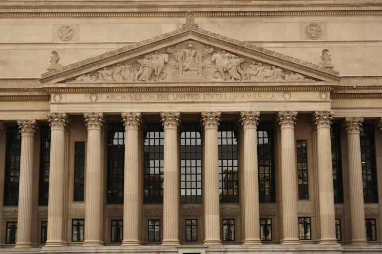 The National Archives building is seen in Washington