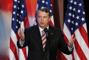 Gillespie, senior political advisor of U.S. Republican presidential nominee Romney, speaks during the election night rally in Boston