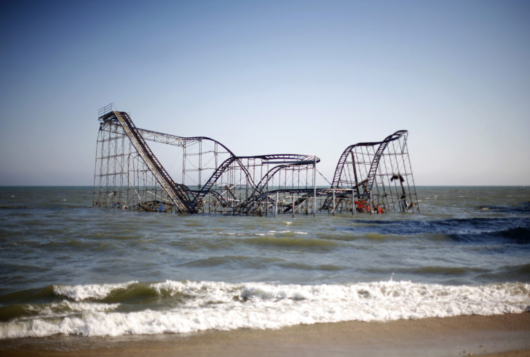 A roller coaster is seen in the ocean in the aftermath of Hurricane Sandy in Seaside Heights