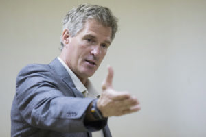 Scott Brown, a Republican candidate for the U.S. Senate, speaks during a town hall campaign stop at a VFW post in Hudson