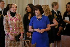 File photo of Karen Pence (right) by Jonathan Ernst/Reuters