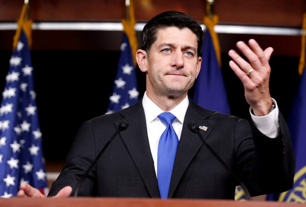 Speaker of the House Paul Ryan (R-Wisc.) speaks during a September press briefing on Capitol Hill in Washington, D.C. Photo by Joshua Roberts/Reuters