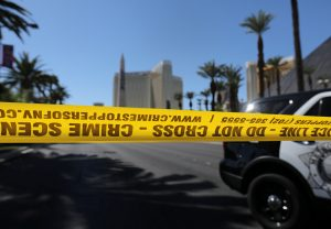 Police crime scene tape marks a perimeter outside the Luxor Las Vegas hotel and the Mandalay Bay Resort and Casino, following a mass shooting at the Route 91 Festival in Las Vegas, Nevada. Photo by Mike Blake/Reuters