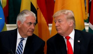 President Donald Trump and Secretary of State Rex Tillerson confer during a working lunch with African leaders during the U.N. General Assembly in New York. Photo by Kevin Lamarque/Reuters