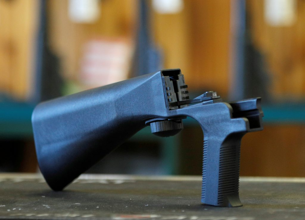 A bump fire stock that attaches to a semi-automatic rifle to increase the firing rate is seen at Good Guys Gun Shop in Orem, Utah, U.S., October 4, 2017. REUTERS/George Frey - RC1F0456EA70