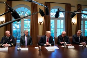 President Donald Trump (C) participates in a briefing with senior military leaders at the White House in Washington, D.C. Photo by Yuri Gripas/Reuters