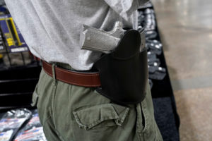 A concealed carry holster is displayed for sale at the Guntoberfest gun show in Oaks, Pennsylvania, U.S., October 6, 2017. REUTERS/Joshua Roberts - RC1ACCB8CE70